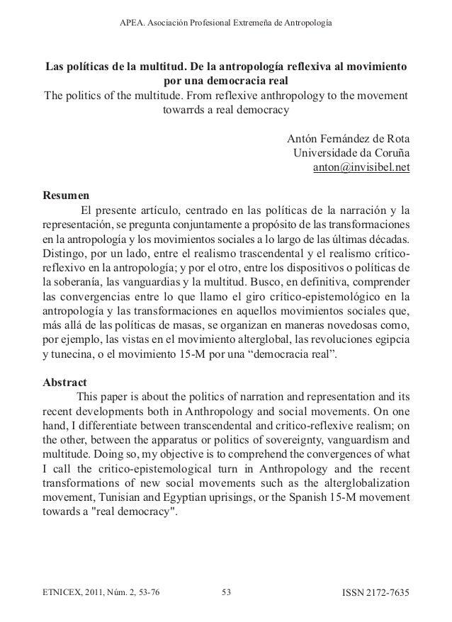 Las políticas de la multitud. De la antropología reflexiva al movimiento por una democracia real The politics of the multi...