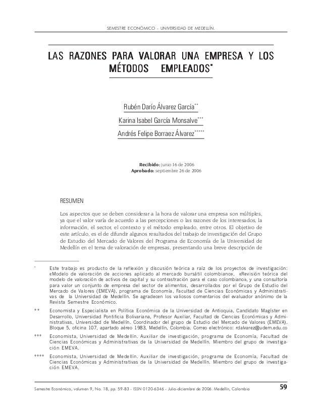 59Semestre Económico, volumen 9, No. 18, pp. 59-83 - ISSN 0120-6346 - Julio-diciembre de 2006. Medellín, Colombia * Este t...