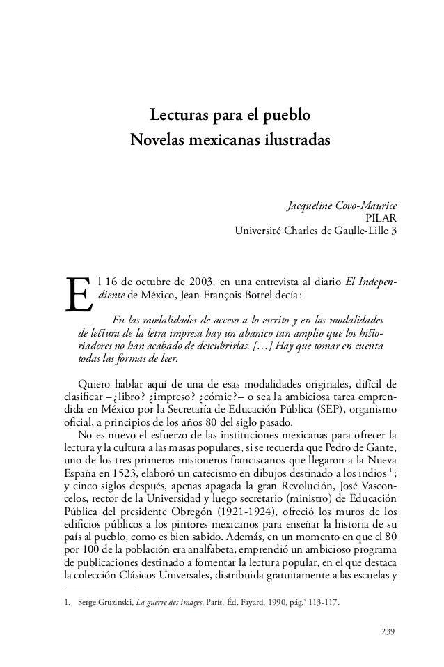 239Lecturas para el puebloNovelas mexicanas ilustradasJacqueline Covo-MauricePILARUniversité Charles de Gaulle-Lille3El ...