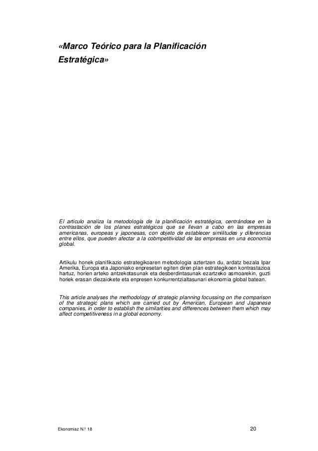 Ekonomiaz N.º 18 20 «Marco Teórico para la Planificación Estratégica» El articulo analiza la metodología de la planificaci...
