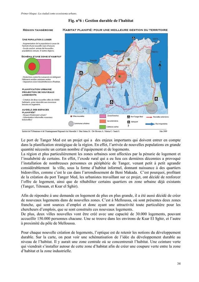 Primer bloque: La ciudad como ecosistema urbano. Fig. n°6 : Gestion durable de l'habitat Le port de Tanger Med est un proj...