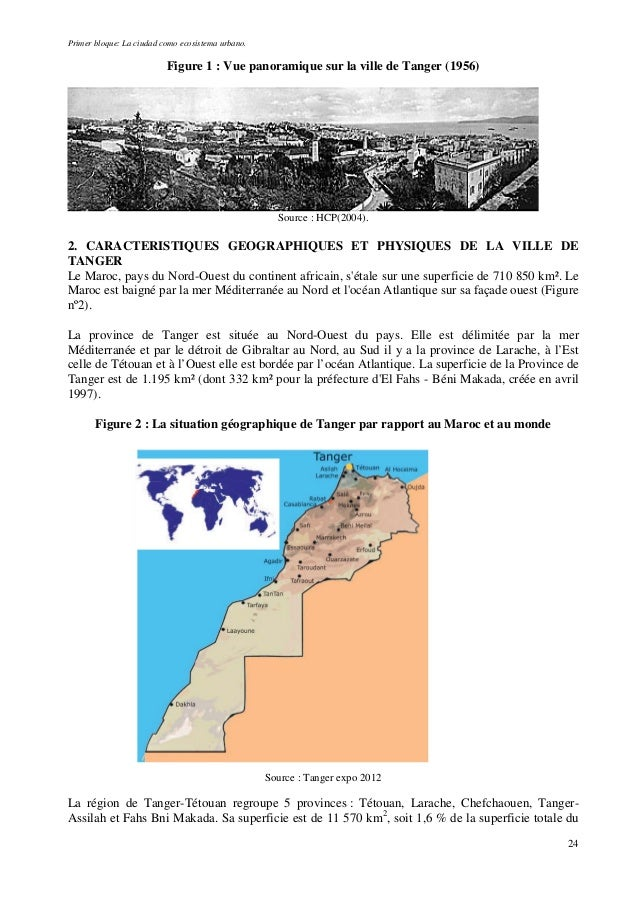 Primer bloque: La ciudad como ecosistema urbano. Figure 1 : Vue panoramique sur la ville de Tanger (1956) Source : HCP(200...