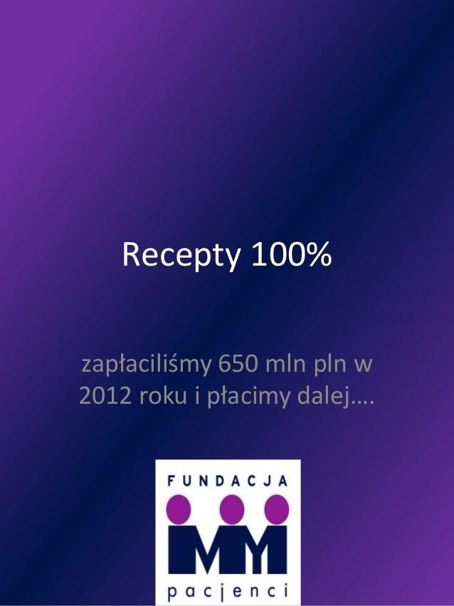 Recepty 100%zapłaciliśmy 650 mln pln w2012 roku i płacimy dalej….