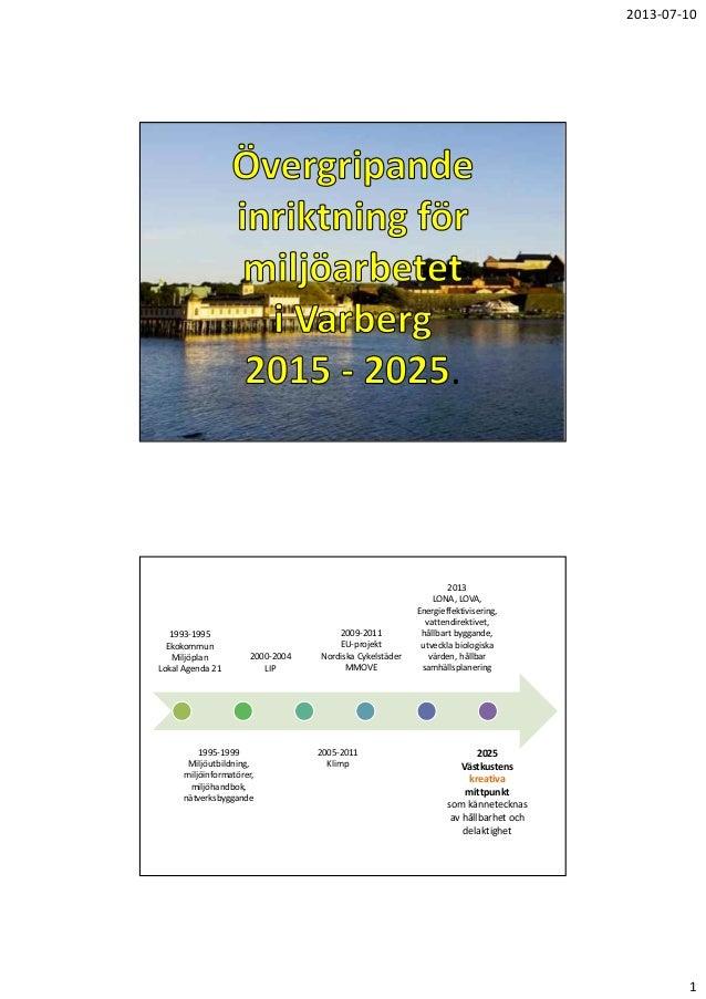2013‐07‐10  .  1993‐1995 Ekokommun Miljöplan LokalAgenda21  2000‐2004 LIP  1995‐1999 Miljöutbildning, miljöinformatör...