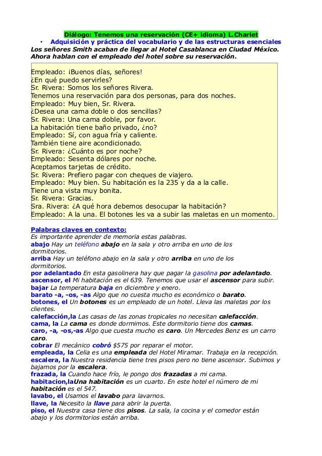 Diálogo: Tenemos una reservación (CE+ idioma) L.Charlet   • Adquisición y práctica del vocabulario y de las estructuras es...