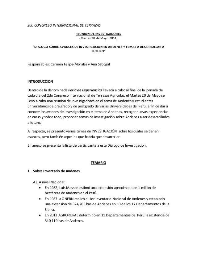 """2do CONGRESO INTERNACIONAL DE TERRAZAS REUNION DE INVESTIGADORES (Martes 20 de Mayo 2014) """"DIALOGO SOBRE AVANCES DE INVEST..."""