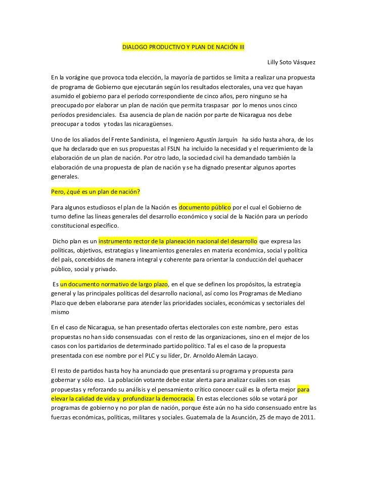 DIALOGO PRODUCTIVO Y PLAN DE NACIÓN III                                                                                  L...