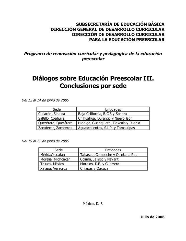 SUBSECRETARÍA DE EDUCACIÓN BÁSICA                  DIRECCIÓN GENERAL DE DESARROLLO CURRICULAR                          DIR...