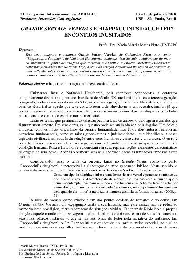 XI Congresso Internacional da ABRALIC Tessituras, Interações, Convergências 13 a 17 de julho de 2008 USP – São Paulo, Bras...