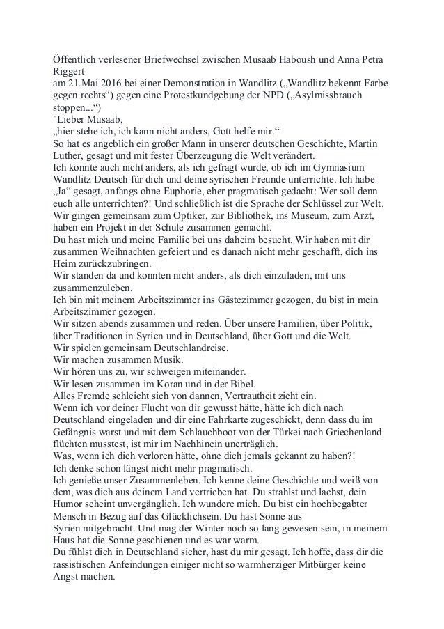 Öffentlich verlesener Briefwechsel zwischen Musaab Haboush und Anna Petra Riggert am 21.Mai 2016 bei einer Demonstration i...