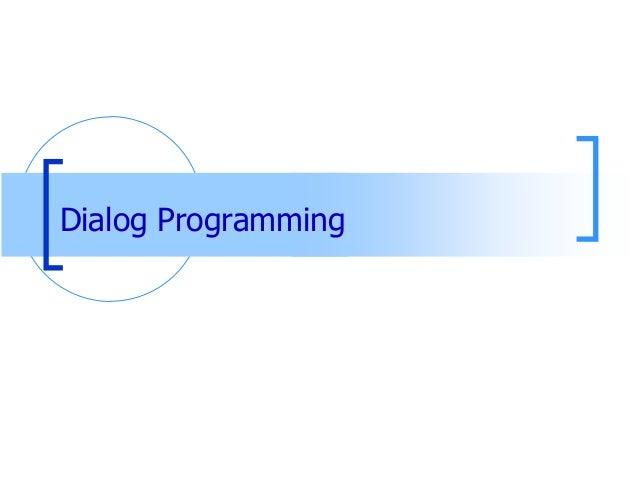 ABAP Training Dialog Programming