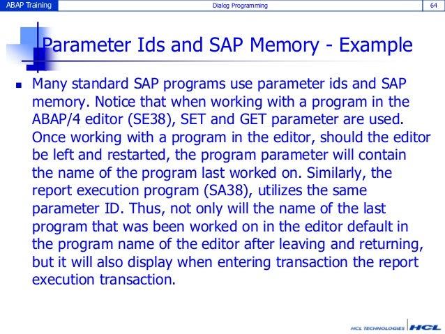 Dialog programming ABAP