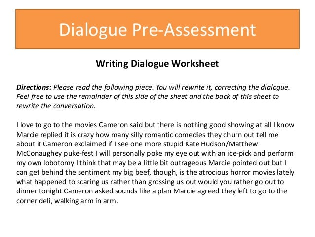 Dialoguekorn – Writing Dialogue Worksheet