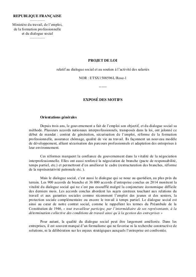 PROJET DE LOI relatif au dialogue social et au soutien à l'activité des salariés NOR : ETSX1508596L/Rose-1 ------ EXPOSÉ D...