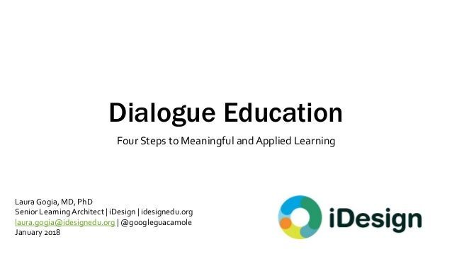 Dialogue Education Four Steps to Meaningful and Applied Learning Laura Gogia, MD, PhD Senior Learning Architect | iDesign ...