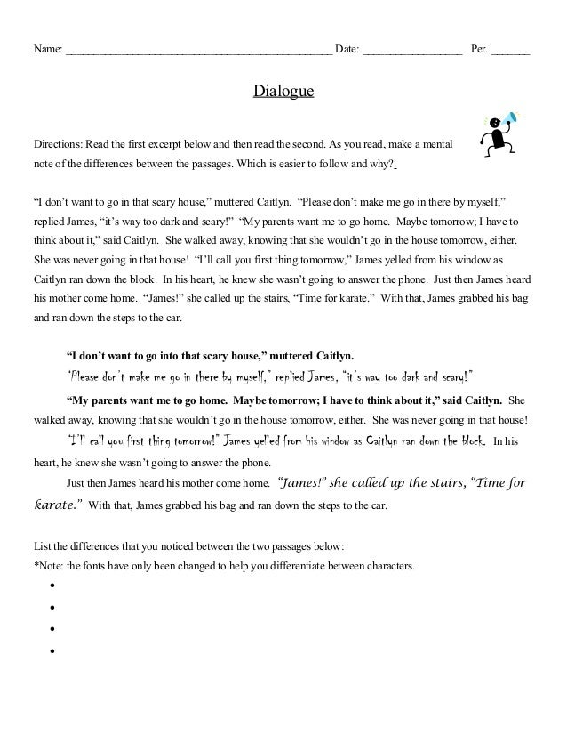 ______ dialogue directions read th - Narrative Essay With Dialogue Example