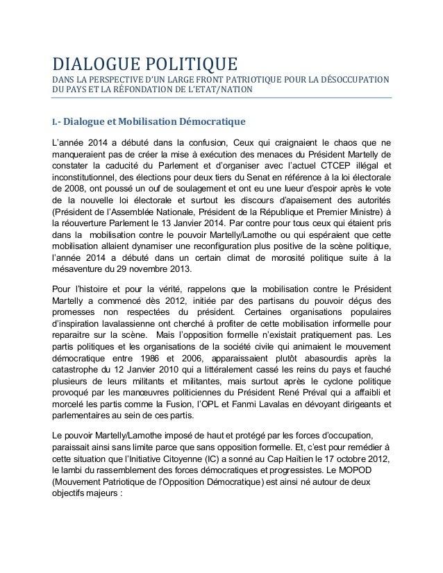 DIALOGUE  POLITIQUE  DANS  LA  PERSPECTIVE  D'UN  LARGE  FRONT  PATRIOTIQUE  POUR LA DÉSOCCUPATION DU  P...