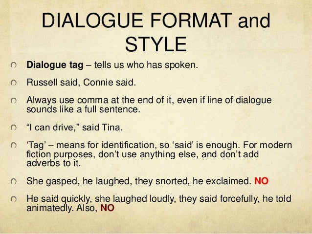 dialog essay format The chicago manual of style, putting dialogue in the middle of paragraphs  depends on the context as in the above example, if the dialogue is.