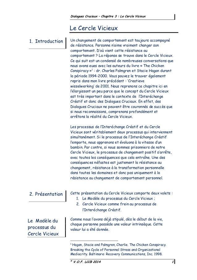 © V.O.F. LCCB 2014 1 Dialogues Cruciaux – Chapitre 3 : Le Cercle Vicieux Un changement de comportement est toujours accomp...