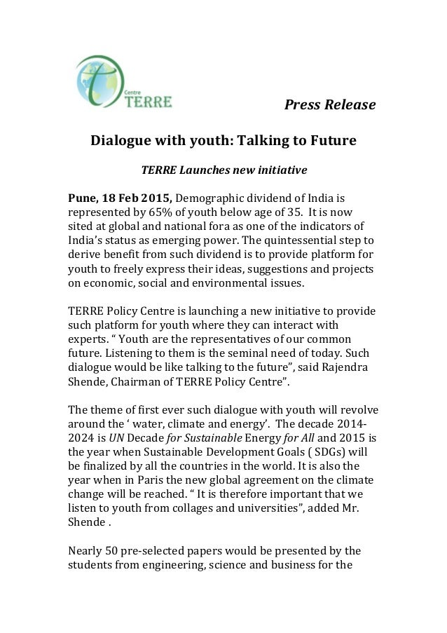 Press	   Release	   	    	    Dialogue	   with	   youth:	   Talking	   to	   Future	 ...