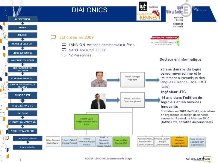 DIALONICS                  JEI créée en 2009                      LANNION, Antenne commerciale à Paris                    ...
