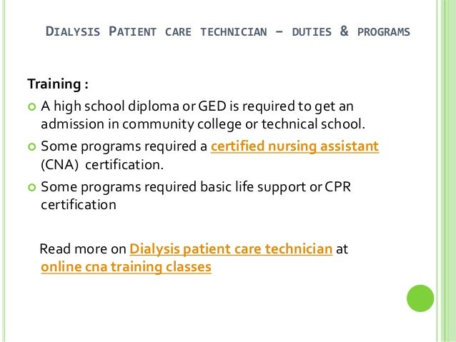 Dialysis Patient Care Technician Training Program