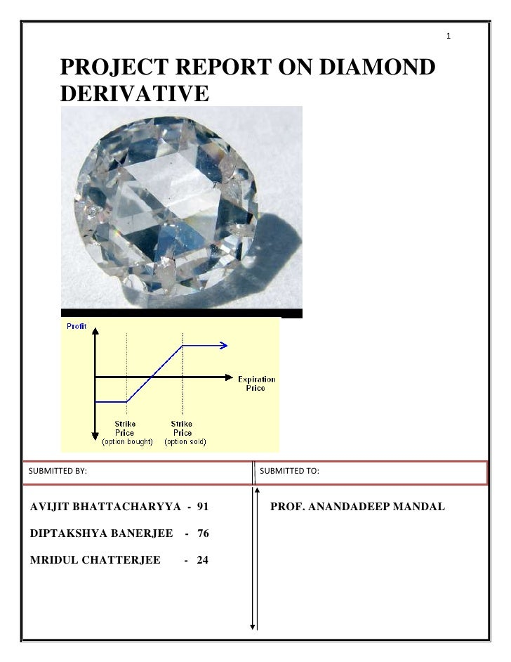 PROJECT REPORT ON DIAMOND DERIVATIVE<br />SUBMITTED BY:           SUBMITTED TO: <br />AVIJIT BHATTACHARYYA  -  91PROF. ANA...