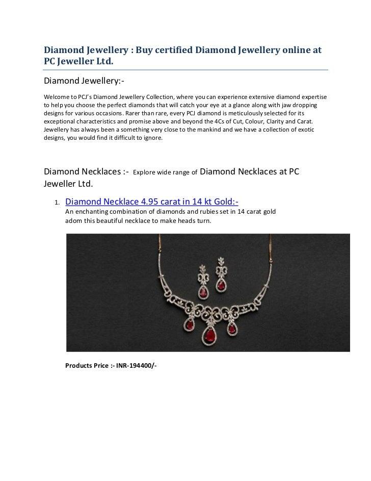 Diamond Jewellery : Buy certified Diamond Jewellery online atPC Jeweller Ltd.Diamond Jewellery:-Welcome to PCJ's Diamond J...