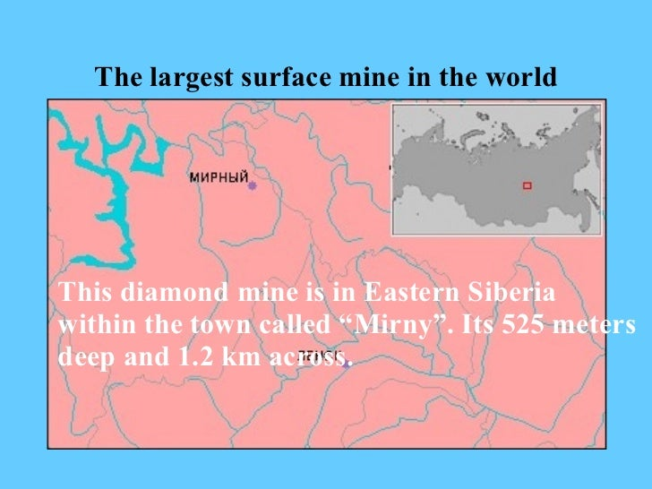 "The largest surface mine in the world This diamond mine is in Eastern Siberia within the town called ""Mirny"".   Its 525 me..."