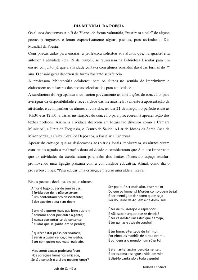 """DIA MUNDIAL DA POESIA Os alunos das turmas A e B do 7º ano, de forma voluntária, """"vestiram a pele"""" de alguns poetas portug..."""