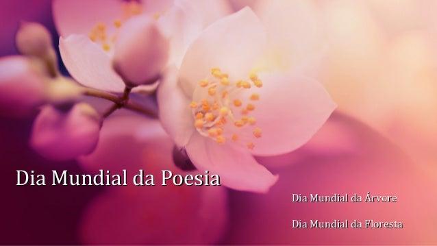 Dia Mundial da PoesiaDia Mundial da Poesia Dia Mundial da ÁrvoreDia Mundial da Árvore Dia Mundial da FlorestaDia Mundial d...