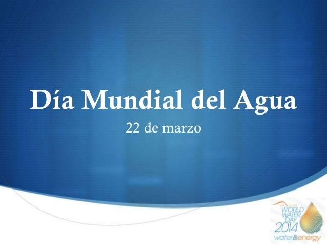S Día Mundial del Agua 22 de marzo