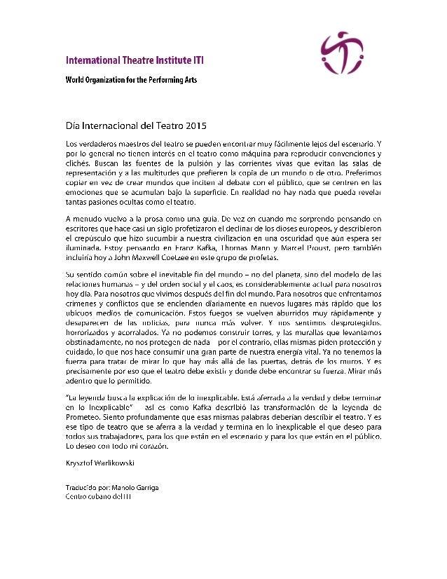 'D4  International Theatre Institute ITI 9  World Organization for the Performing Arts  Día Internacional del Teatro 2015 ...