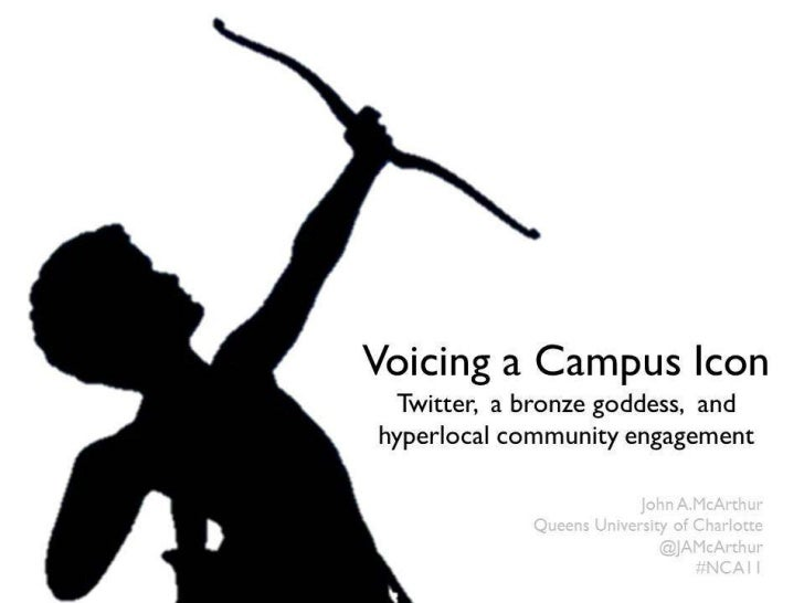 Voicing a Campus Icon: Twitter, a bronze goddess, and hyperlocal community engagement