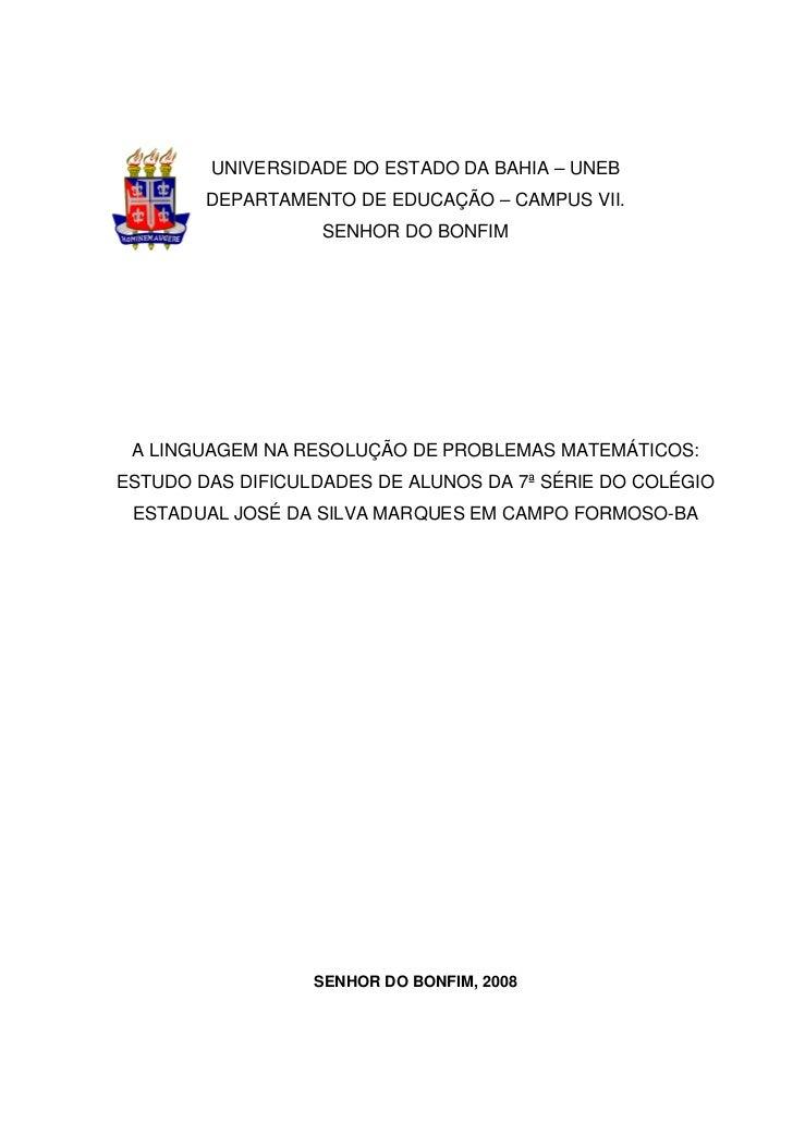 UNIVERSIDADE DO ESTADO DA BAHIA – UNEB        DEPARTAMENTO DE EDUCAÇÃO – CAMPUS VII.                   SENHOR DO BONFIM A ...