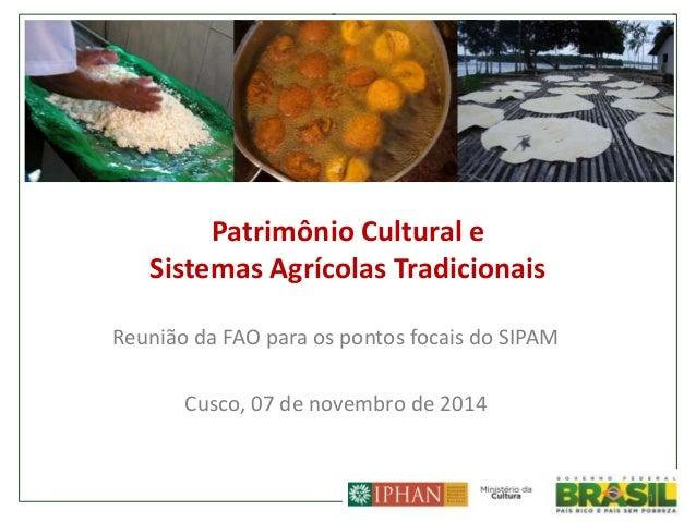 Patrimônio Cultural e Sistemas Agrícolas Tradicionais Reunião da FAO para os pontos focais do SIPAM Cusco, 07 de novembro ...