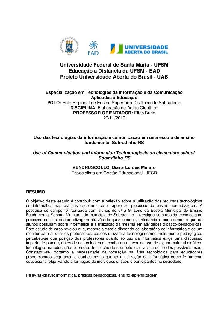 Universidade Federal de Santa Maria - UFSM                     Educação a Distância da UFSM - EAD                  Projeto...