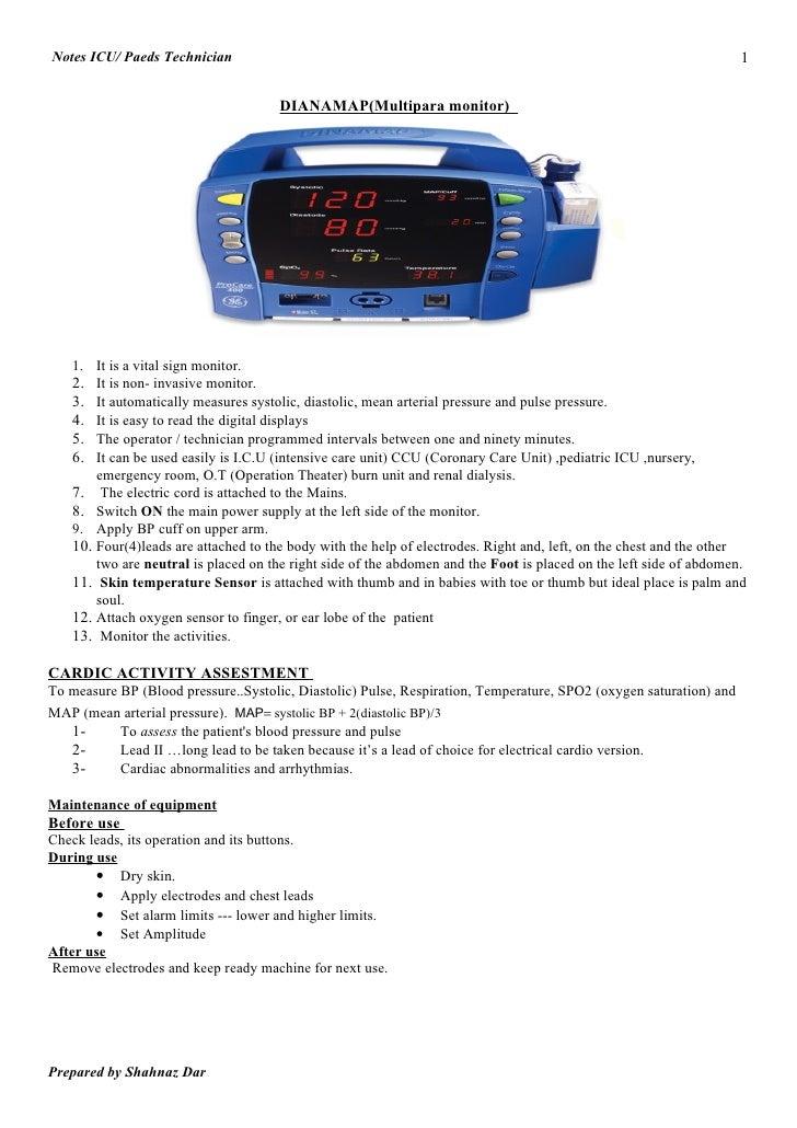 Notes ICU/ Paeds Technician                                                                                          1    ...