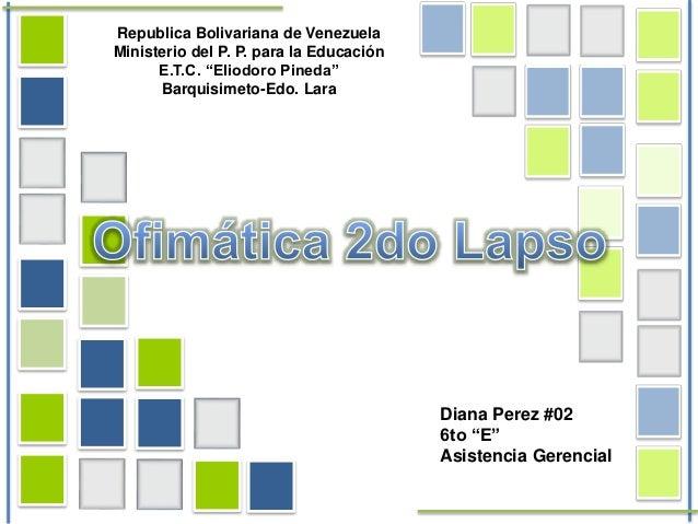 "Republica Bolivariana de Venezuela Ministerio del P. P. para la Educación E.T.C. ""Eliodoro Pineda"" Barquisimeto-Edo. Lara ..."