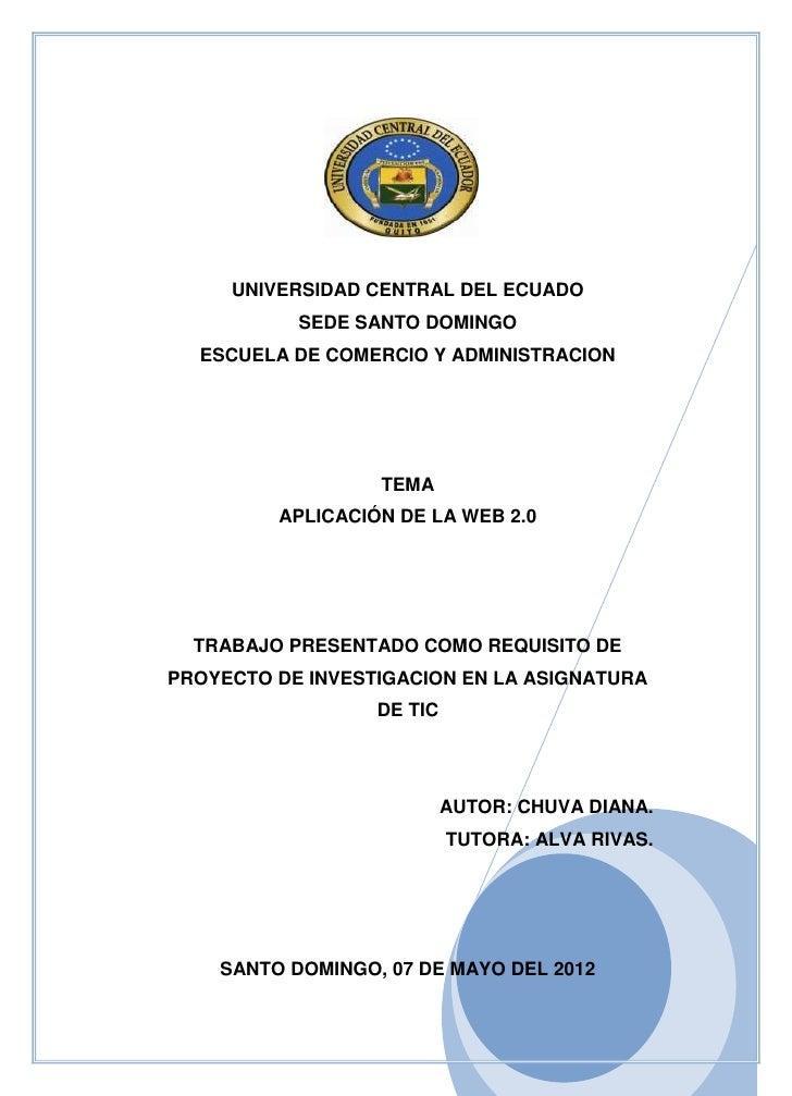 UNIVERSIDAD CENTRAL DEL ECUADO           SEDE SANTO DOMINGO  ESCUELA DE COMERCIO Y ADMINISTRACION                  TEMA   ...
