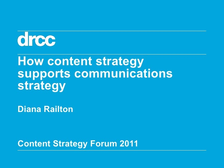 How content strategy  supports communications strategy Diana Railton Content Strategy Forum 2011