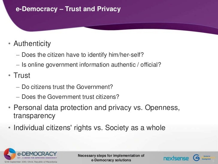 Necessary steps for implementing e-Democracy solutions