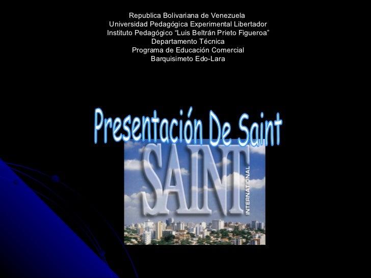 "Republica Bolivariana de Venezuela  Universidad Pedagógica Experimental Libertador Instituto Pedagógico ""Luis Beltrán Prie..."