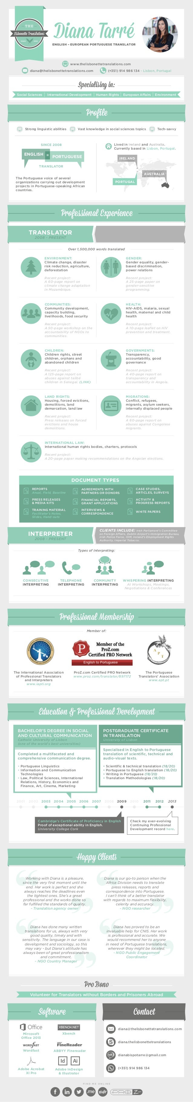 diana tarr eacute infographic cv diana tarreacute english european portuguese translator thelisbonettetranslations com diana thelisbonettetranslations