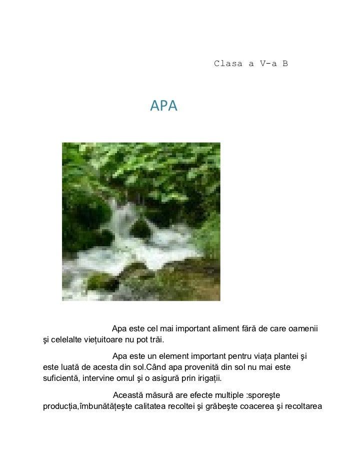 Clasa a V-a B                              APA                     Apa este cel mai important aliment fără de care oamenii...