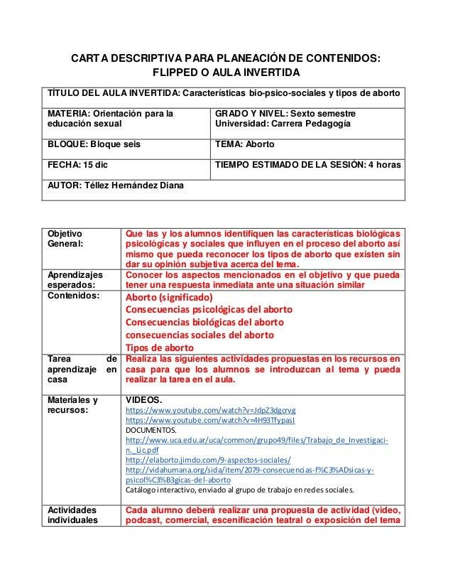 CARTA DESCRIPTIVA PARA PLANEACIÓN DE CONTENIDOS: FLIPPED O AULA INVERTIDA TÍTULO DEL AULA INVERTIDA: Características bio-p...