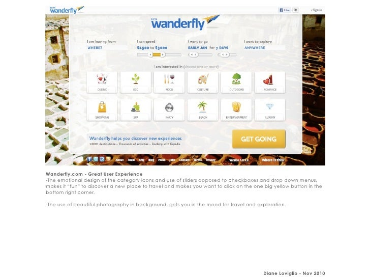 Wanderfly.com - Great User Experience-The emotional design of the category icons and use of sliders opposed to checkboxes ...