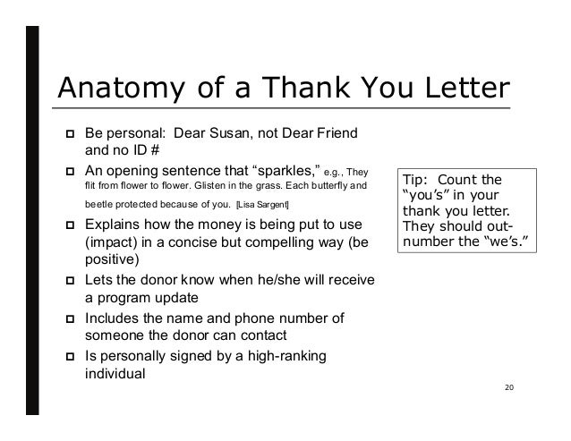 Diane remin raise more money by keeping your donors 20 anatomy of a thank you letter altavistaventures Image collections