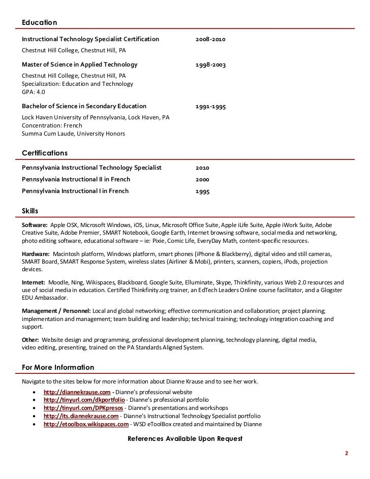 instructional technologist resume