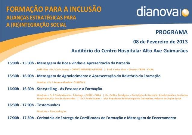 FORMAÇÃO PARA A INCLUSÃOALIANÇAS ESTRATÉGICAS PARAA (RE)INTEGRAÇÃO SOCIAL                                                 ...